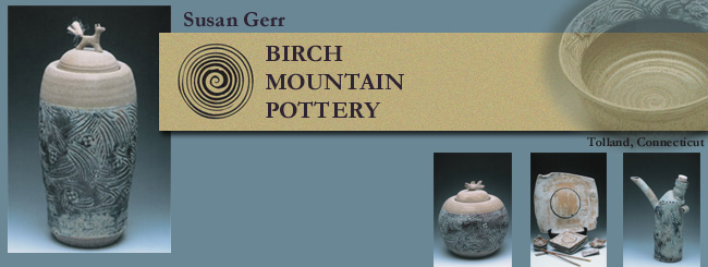 Handmade pottery created by Susan Gerr of Birch Mountain Pottery